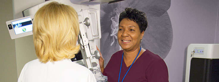 Patient and mammogram technician
